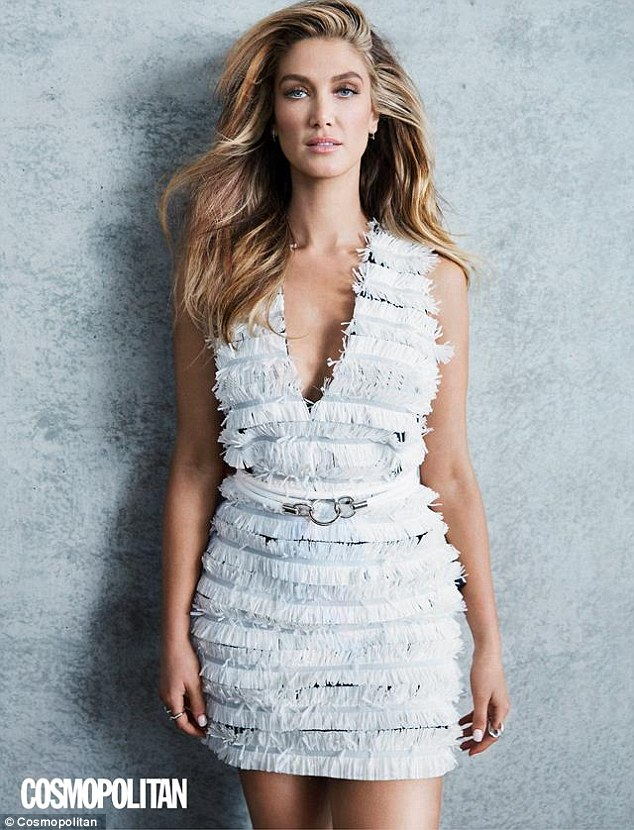 What a goddess! Delta Goodrem, 31, stunned in a soft blue mini dress with fringed detailing as she posed for a fashion editorial in this months's edition of Cosmopolitan Australia