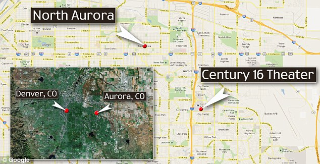 Scene: A map shows the movie theatre and the location of the gunman's home in North Aurora