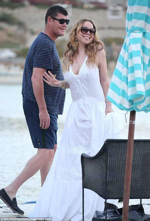 A smile for the camera: Mariah Carey and James Packer had a 'huge fight' while on vacation in Greece last month and they have not seen each other since