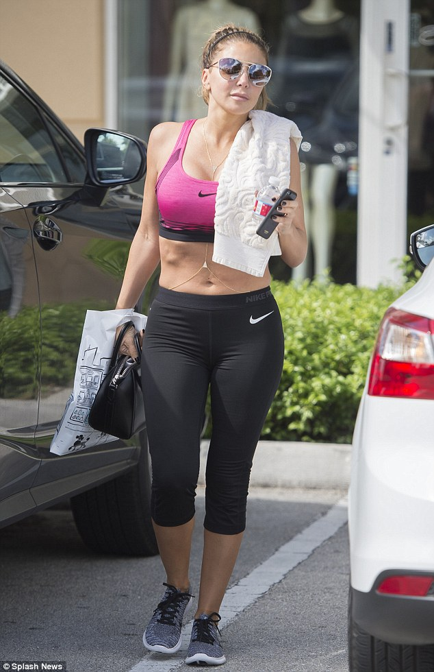 Sweat session: Larsa Pippen showed off her flat stomach in a Nike sports bra as she was was spotted shortly after an early morning gym session in Miami on Wednesday
