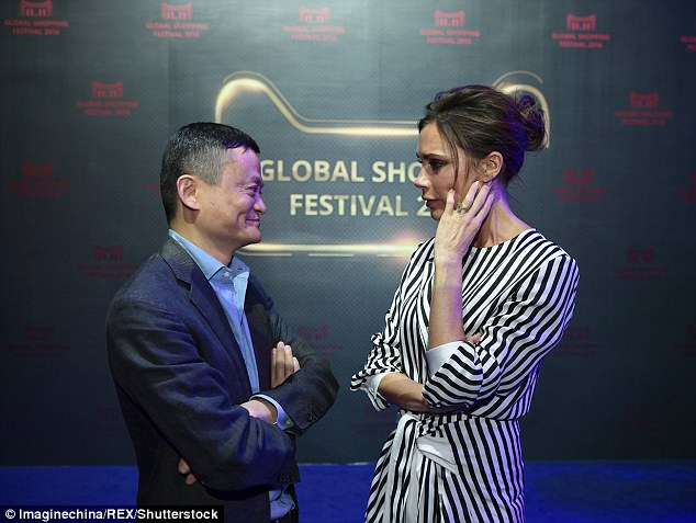 Catching up: Victoria was chatting away to Alibaba founder Ma