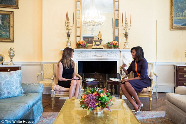 When Melania met Michelle: The meeting bizarrely took place behind closed doors with just this White House-issue picture reluctantly released after repeated media requests