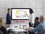 """This image provided by Google shows a demonstration of the company's new product called """"Jamboard."""" Google has designed the giant touch-screen canvas for companies trying to make it easier for their employees to brainstorm as they work on team projects and other assignments. Google is releasing the device to a small group of companies Tuesday, Oct. 25, 2016, before making it widely available in early 2017. (Google via AP)"""