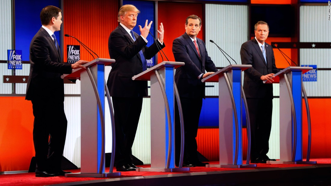 "Trump holds up his hands during a Republican debate in Detroit on March 3, 2016. Trump assured American voters that despite what Rubio had suggested, <a href=""http://www.cnn.com/2016/03/03/politics/donald-trump-small-hands-marco-rubio/"" target=""_blank"">there was ""no problem"" with the size of his hands</a> -- or anything else."