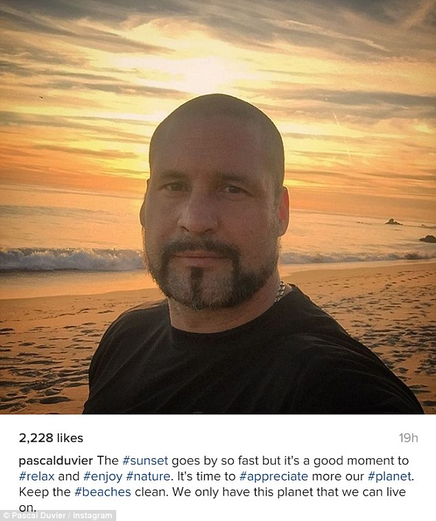 Environmentally conscious: The 43-year-old clearly enjoyed his assignment and posted this selfie to his Instagram with a message about protecting the beaches and the planet