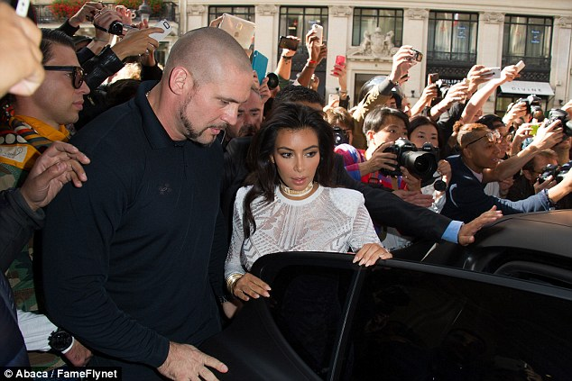 Out: Pascal had provided personal protection to Kim Kardahsian (pictured) and her husband Kanye West for four years but is no longer working for them following Kim's Paris heist ordeal