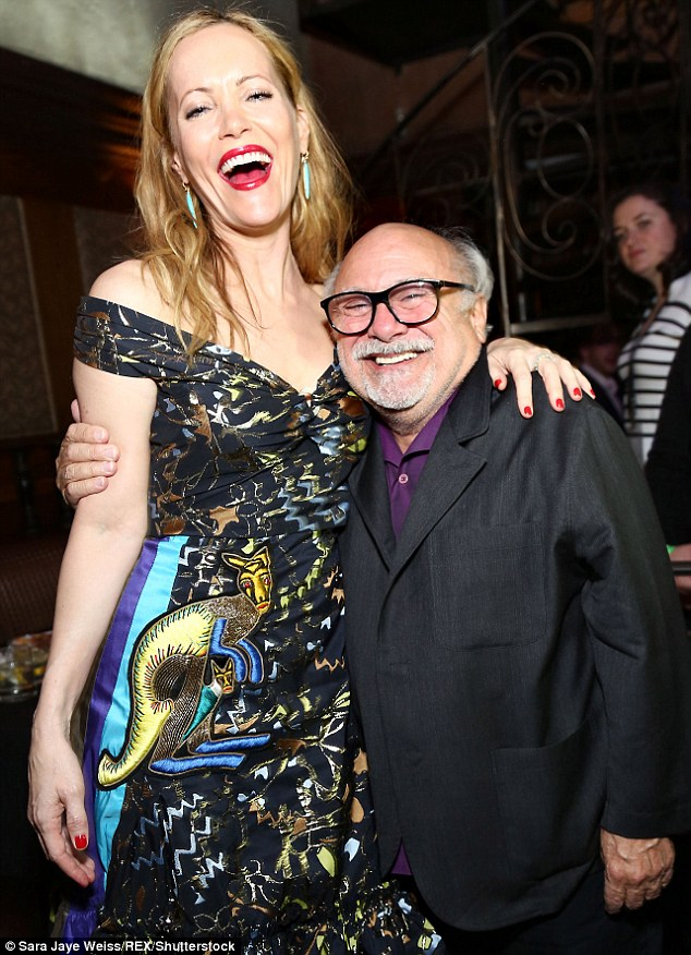 Reunion! The event was also attended by Danny De Vito and Leslie Mann - who showed off her quirky style in a off-the-shoulder dress emblazoned with an embroidery kangaroo