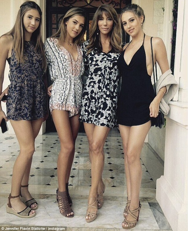 'I have to give Jennifer all the credit': Sylvester Stallone has praised wife Jennifer Flavin with raising their three lovely daughters (L-R) Scarlet, Sistine and Sophia
