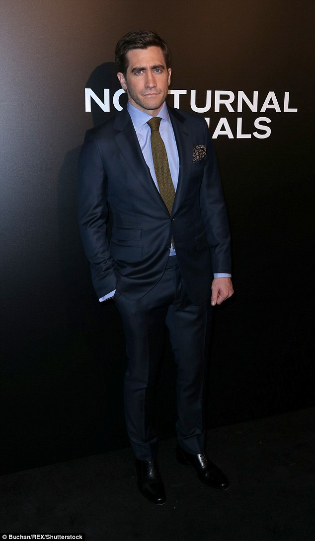 Nightcrawler: Clean-shaven lead man Jake Gyllenhaal looked razor-sharp in a two-piece navy suit, shedding the beard and moustache he wears occasionally in the film