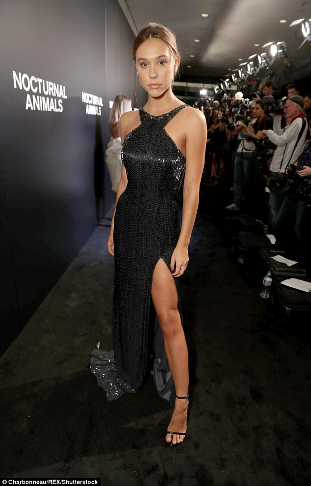 Beautiful: Alexis Ren stunned in a flowing black gown