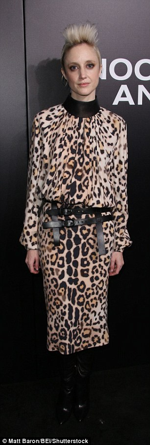 Stylish: Andrea Riseborough wore leopard print while Suzanne Somers went for a little black number