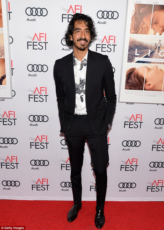 Dapper:She was joined by fellow Lion star Dev Patel who went for an envelope pushing outfit