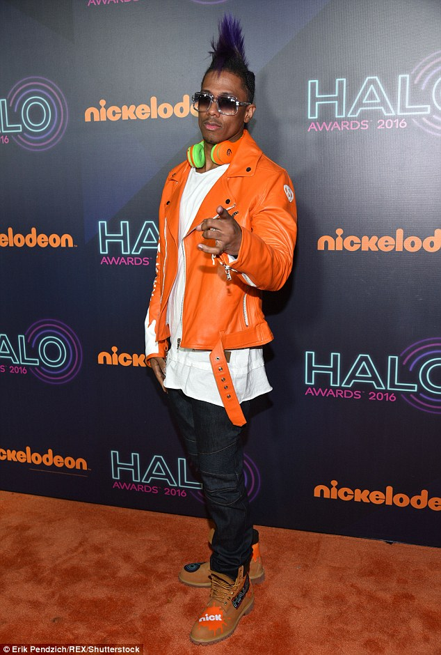 Host with the most: Nick Cannon rocked a very interesting look at the event including a bright orange leather biker jacket