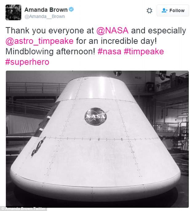 Crew: Backing singer Amanda Brown tweeted: 'Thank you everyone at @NASA and especially @astro_timpeake for an incredible day', along with a picture of a NASA landing pod