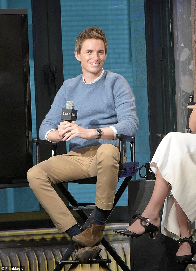 Handsome: Eddie Redmayne was working his magic on Friday as he chatted with AOL in NYC about his new role in Fantastic Beasts And Where To Find Them