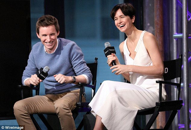Good-natured: The  Brit looked relaxed as he discussed working on J.K Rowling's latest movie - which is a prequel to Harry Potter with co-star Katherine Waterston