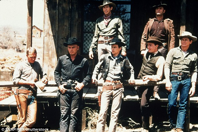 Men on the range: Steve McQueen, Yul Brenner, Horst Buccholz, James Coburn,Robert Vaughn, John Sturges and Brad Dexter in The Magnificent Seven