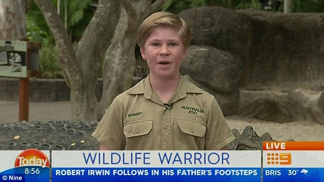 'I'm keen to do everything he did': Robert Irwin, 12, revealed to the Today Show on Saturday that he aims to follow in his late father Steve's footsteps