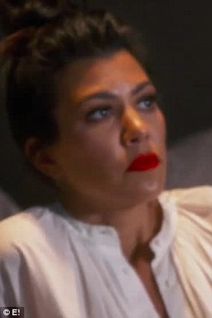 Looks of consternation: Kourtney (left) andKhloé (right) saw the intense interlude as well