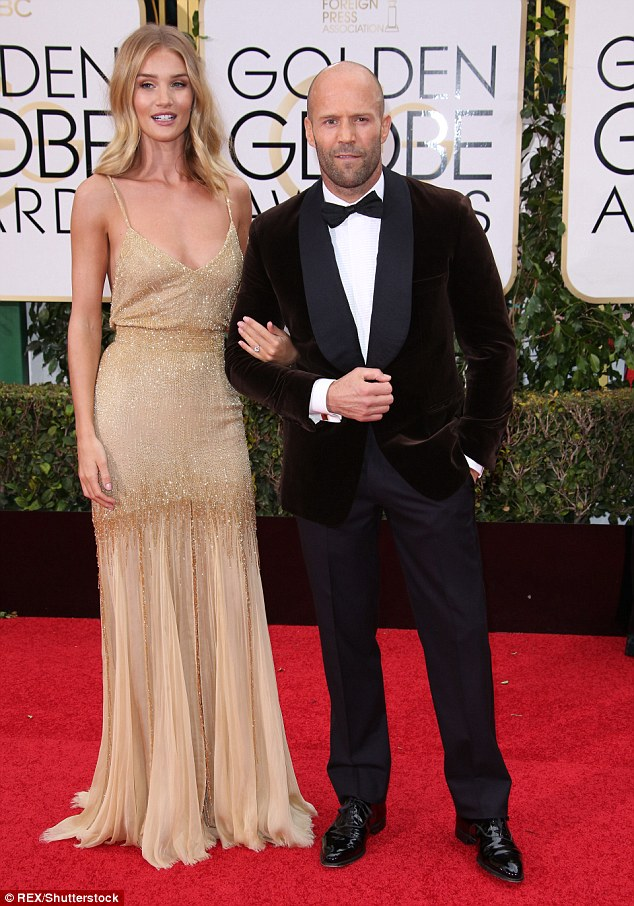 Cute couple: The Plymouth born star shares a house in Beverly Hills with fiancé Jason Statham