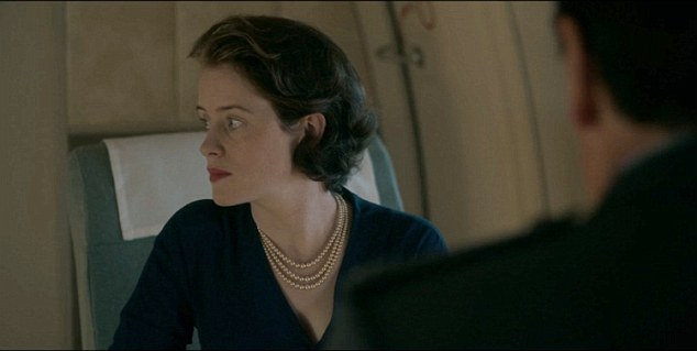 The Queen, played by Claire Foy, catches him staring at her and gives him a withering look.