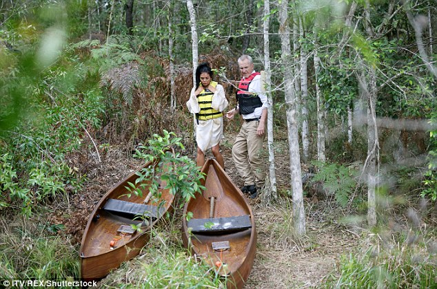 Not expecting it: The two co-stars as they were met with two canoeing boats