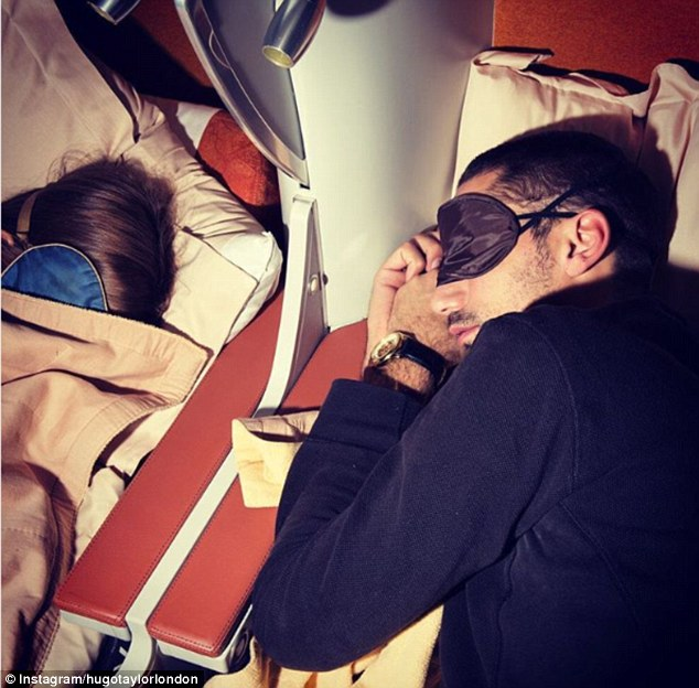 Catching some sleep: Clearly excited for the trip, sunglasses designer Hugo shared snaps of their flight in first class