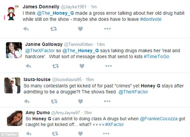 Double standards? Some fans were quick to remind the show that previous contestant Frankie Cocozza was removed from the competition following his drugs shame