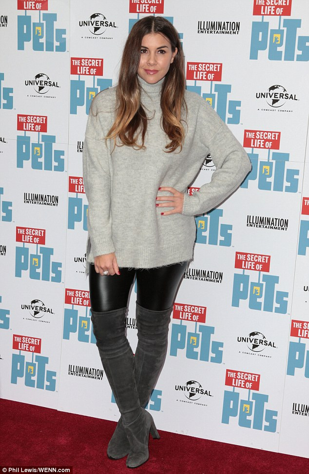 Casual chic: Imogen Thomas, 33,arrived at the Secret Life of Pets premiere in London on Saturday in a classic roll neck jumper and chic leather leggings