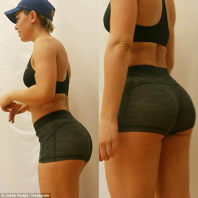 That's a bit cheeky! X Factor star Joey Hadjia, formerly Joelle, 26, took to Instagram on Saturday to share a VERY close-up snap of her pert derrière in a lengthy 'body transformation' post