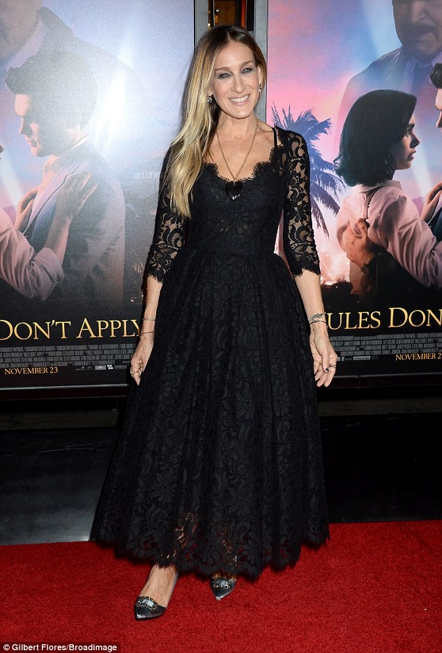 Classic style: Sarah Jessica Parker also wowed the red carpet in black lace