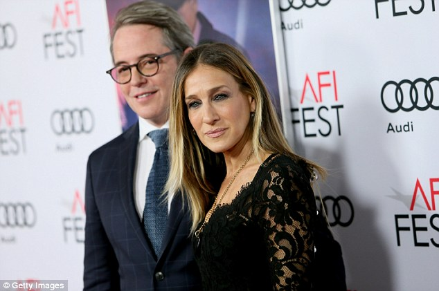 Close couple: The Sex and the City star was joined by husband Matthew Broderick