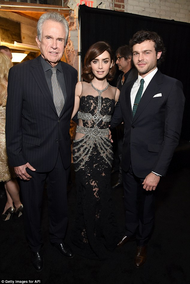 Cast: Warren Beatty joined Lily  and her co-star Alden Ehrenreich at the premiere
