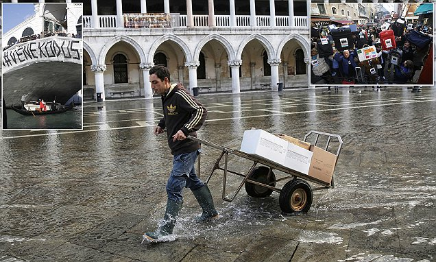 Venice locals protest rising living costs caused by tourism during annual flood season