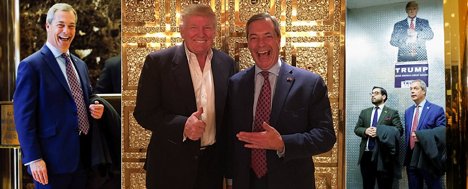Nigel Farage poses with Donald Trump in his New York bling palace