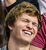 Sports fan: Ansel Elgort couldn't contain his excitement as he watched the LA Clippers play at the Staples Center.