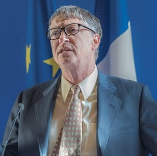 Bill Gates (pictured) during the signing of a partnership vaccination in the Sahel with France