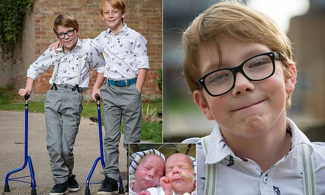 Marcus McCarthy who was unable to walk has taken first steps alongside his twin brother