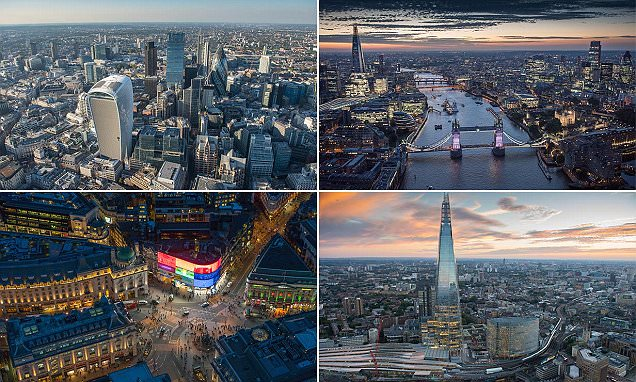 Incredible aerial photographs capture London's iconic landmarks in 2016