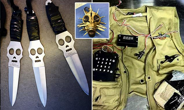 A replica suicide vest, skull-adorned throwing knives and a gas mask decorated with
