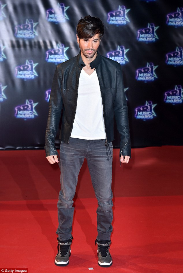 Celebrity arrival: Singer Enrique Iglesias also stepped out in style for the event
