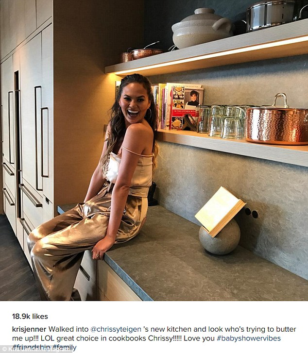Small world: Kris was delighted to see that host Chrissy, 30, had a copy of her cookbook on the shelf of her recently remodeled kitchen