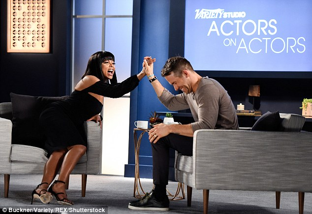 Getting along swimmingly: Another pair who will feature on the fifth series were Taraji P Henson and Ryan Reynolds