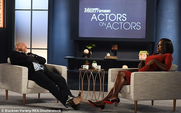 Relaxation: Tom Hanks and Viola Davis also had a chat for the programme