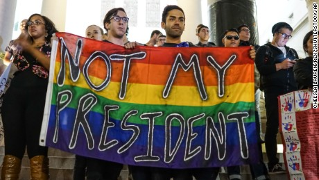 Protesters take part in a demonstration against Donald Trump's presidential election victory in front of the City Hall building Reaction to the US election, Los Angeles, USA - 09 Nov 2016