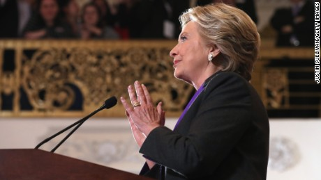 Former Secretary of State Hillary Clinton concedes the presidential election at the New Yorker Hotel on November 9, 2016 in New York City. Republican candidate Donald Trump won the 2016 presidential election in the early hours of the morning in a widely unforeseen upset.
