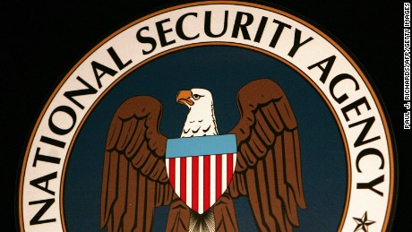 This 25 January 2006 file photo shows the logo of the National Security Agency (NSA) at the Threat Operations Center inside the NSA in the Washington suburb of Fort Meade, Maryland, where US President George W. Bush delivered a speech behind closed doors and met with employees in advance of Senate hearings on the much-criticized domestic surveillance.