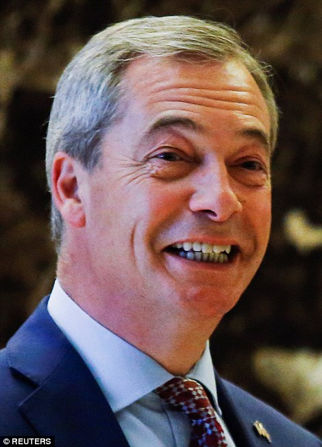 Nigel Farage arrives at Republican president-elect Donald Trump's Trump Tower in New York