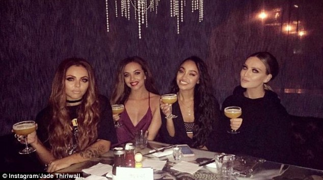 Partying in style: Meanwhile, Jesy, 25, had ditched her engagement ring when she headed out with bandmates on Wednesday for cocktails