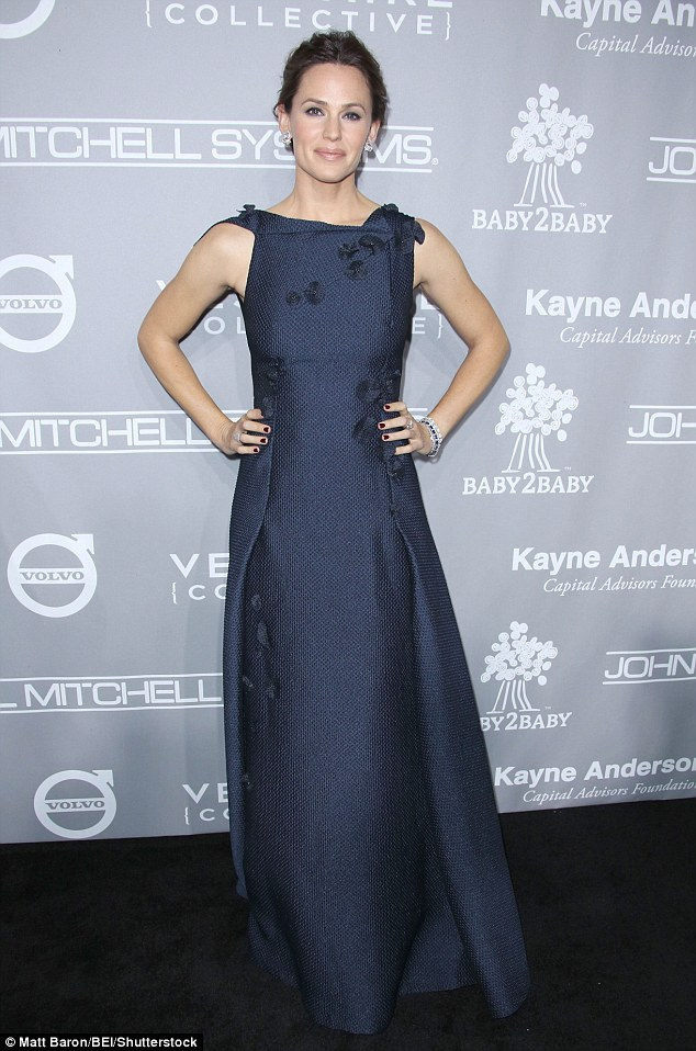 In the navy: Jennifer Garner looked beautiful in blue at the star-studded Fifth Annual Baby2Baby Gala on Saturday Night